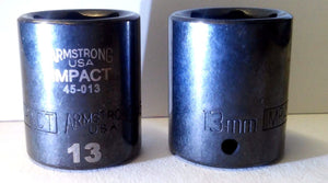 "Armstrong 1/4"" Dr 13mm Impact Socket USA 45-013 2PCS"