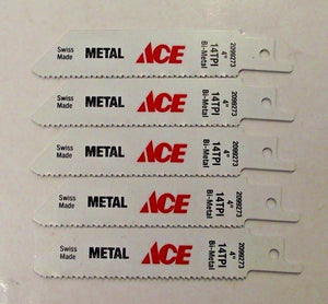 "ACE by Bosch 2099273 4"" x 14 TPI Bi-Metal Metal Cutting Recip Saw Blades 5PCS"