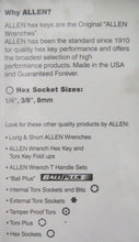 Allen 58663 3 Piece Hex Socket Brake Caliper Set USA