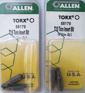 "Allen 58179 2 Pack T15 Torx Insert Bits 1/4"" Drive 2 Packs USA"