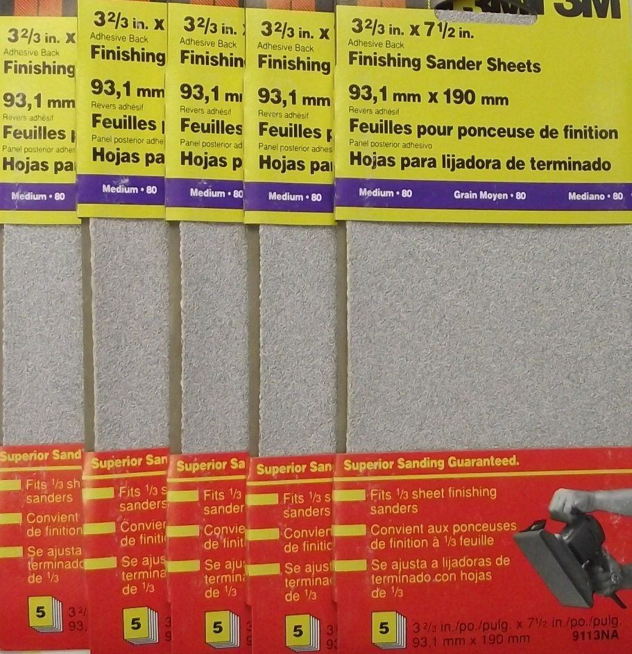 3M 9113NA 1/3 Sheet Clamp On Sandpaper 80 Grit 5pcs. x 5Pks 25 Sheets