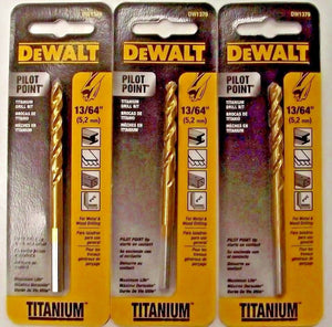 "Dewalt DW1379 13/64"" Titanium Pilot Point Drill Bit 3PKS"