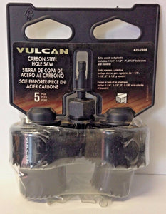 "Vulcan 988091OR 5 Piece Hole Saw Set 1-1/4"",  1-1/2"", 2"", 2-1/8"" & Mandrel"