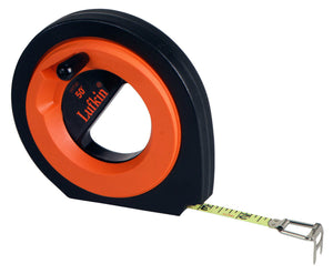 "Lufkin HYT50 3/8"" x 50' Hi-Viz Orange Speedwinder Steel Long Tape Measure"
