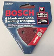 Bosch SDTR000 6 Piece Hook & Loop Sanding Triangles Assorted Grits For Wood