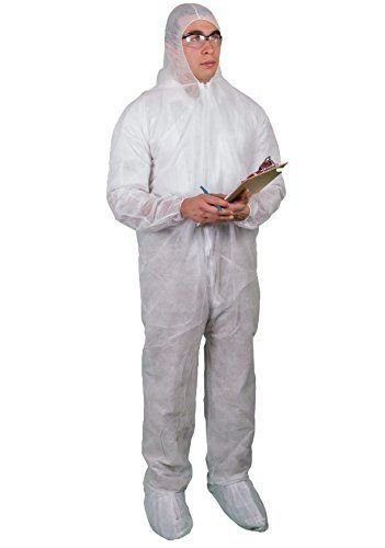 CVL-NW-B XXL White Disposable Polypropylene Coverall Full Body Bunnysuit 25 Pack