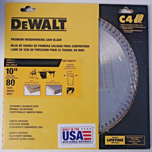 "Dewalt DW71080T0 10"" x 80 Teeth Laminates Premium Woodworking Saw Blade USA"