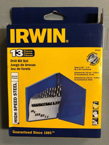 IRWIN 60136 High Speed Steel Drill Bit 13 pc Set With Case