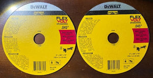"DEWALT FLEXVOLT DWAFV86045 6"" x .045 x 7/8"" Cutting Wheel 2pcs. Germany"