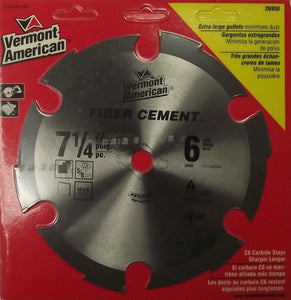 "Vermont American 26950C 7-1/4"" x 6T Fiber Cement Saw Blade Carded"