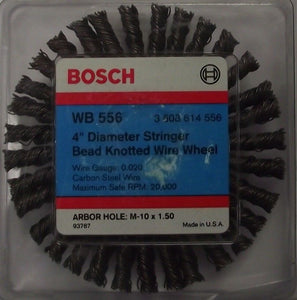 "Bosch Wb 556 4"" Stringer Bead Knotted Wire Wheel Arbor M-10 x 1.50 USA"