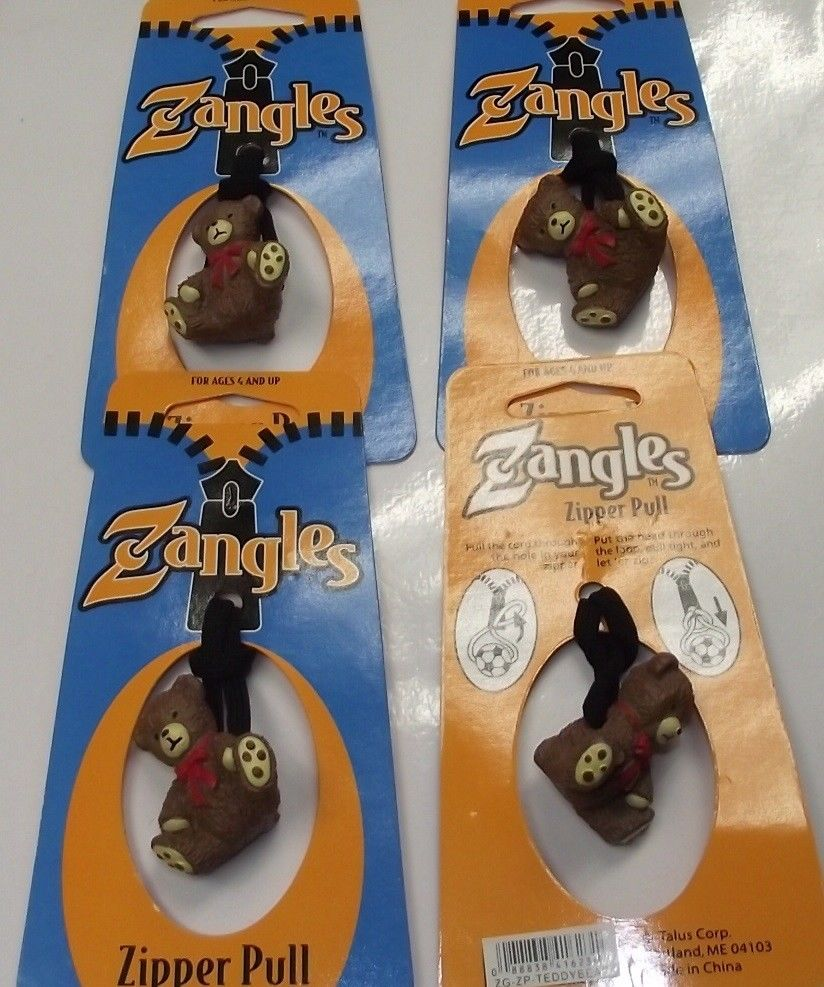 Zangles ZG-ZP-Teddybear Zipper Pulls  4pcs Great For Luggage Or Backpacks