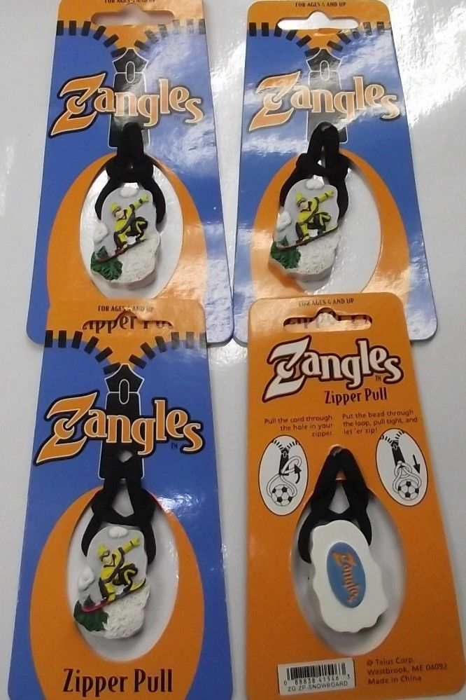 Zangles ZG-ZP-SNOWBOARD Zipper Pulls  4pcs Great For Luggage Or Backpacks