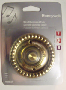 Honeywell RPW318A  Wired Illuminated Brass Door Bell Push Button