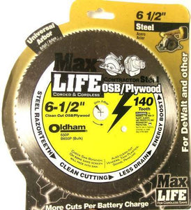 "Oldham 650P Max Life Saw Blade 6 1/2"" Plywood 140 Tooth Packaged"