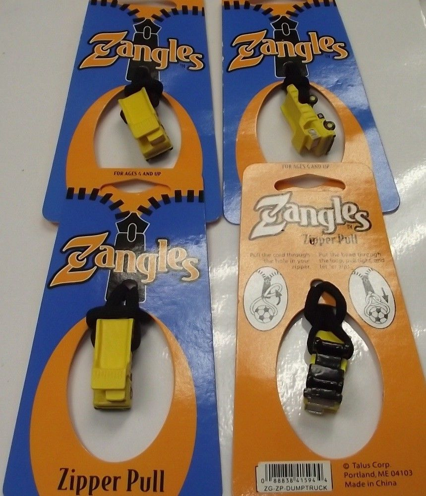 Zangles Dumptruck Zipper Pulls  4pcs Great For Luggage Or Backpacks