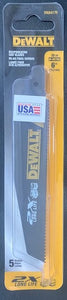 "DeWALT DWA4176 6"" x 10TPI Reciprocating Saw Blades BI-Metal 5 PACK USA"