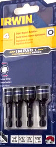 IRWIN 1837530 4 PC IMPACT MAGNETIC NUTSETTER SET 1/4, 5/16, 3/8, 7/16 NUT DRIVER