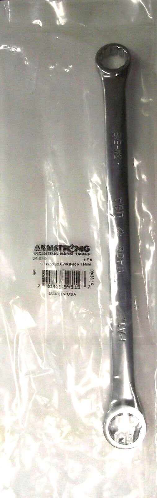 Armstrong 54-519 19mm 12 Point Full Polish Double Box Ratcheting Wrench USA