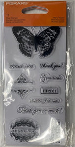 Fiskars 102800-1001 Many Thanks Butterfly Clear Acrylic Stamp Set 2 Packs
