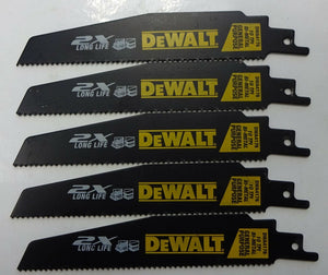 "DeWALT DWA4176 6"" Reciprocating Saw Blades 10TPI BI-Metal 5 pcs. USA"
