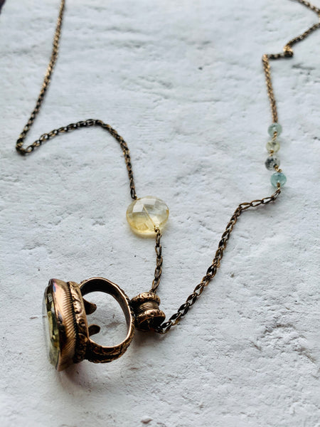 18TH CENTURY CITRINE FOB NECKLACE