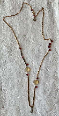 GARNET AND CITRINE VINTAGE GOLD FILLED CHAIN