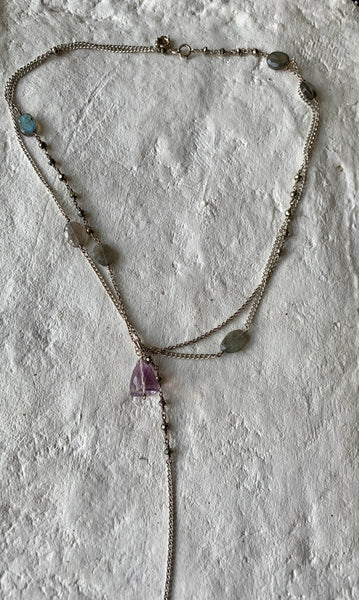 STERLING SILVER LARIAT, AMETHYST FACETED BELL