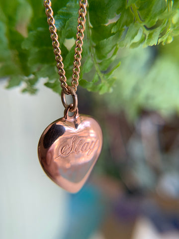 Stay- sterling silver pendant, rose gold vermeil, necklace