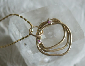 Unearthed Necklace - sapphires in shades of pink, enso