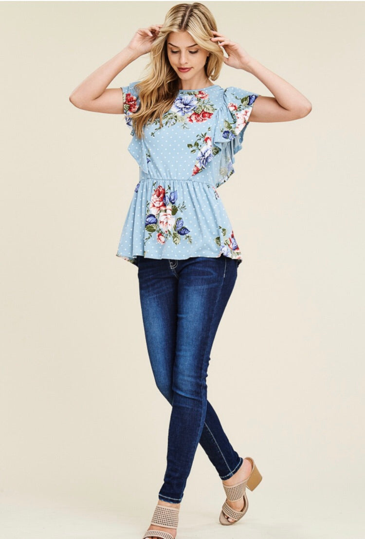 Blue baby doll top - Sabela Chic