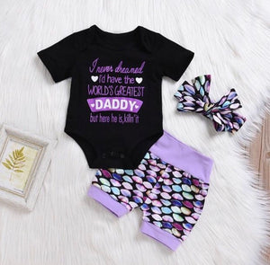 Girls mermaid outfit with hair bow - Sabela Chic