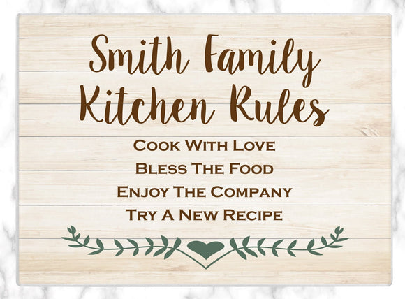 Custom Cutting Board Personalized Glass Cutting Board Kitchen Rules