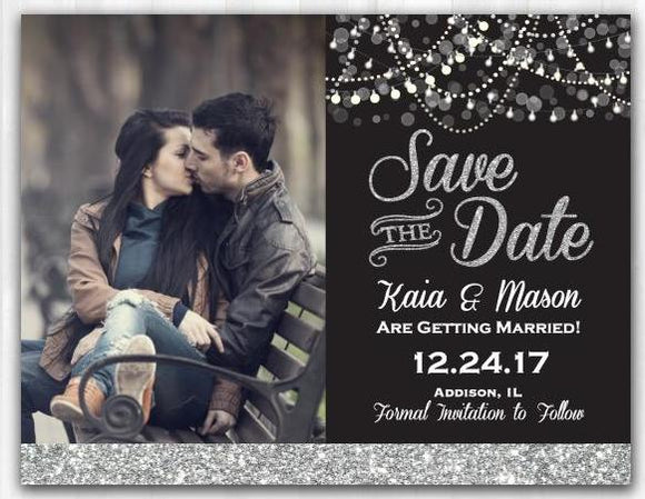 Silver Glitter Save The Date Magnet Silver Save The Date Card
