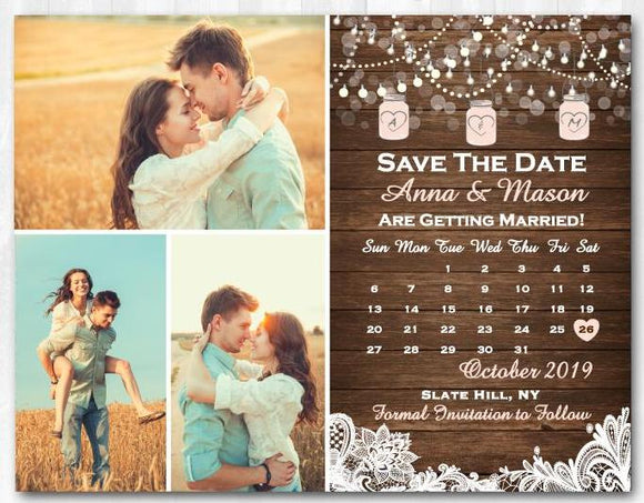 Mason Jar Save The Date Lace Save The Date Magnet
