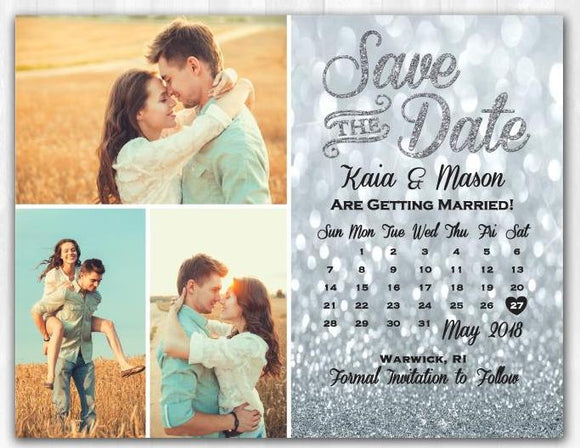 Silver Glitter Save The Date Magnet Silver Save The Date Magnet