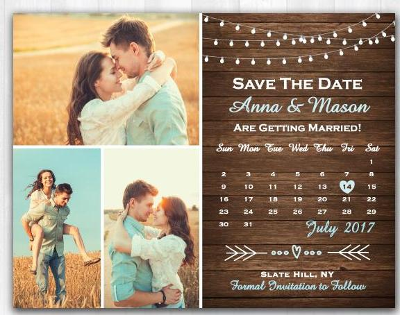 String Lights Save The Date Rustic Save The Date Magnet