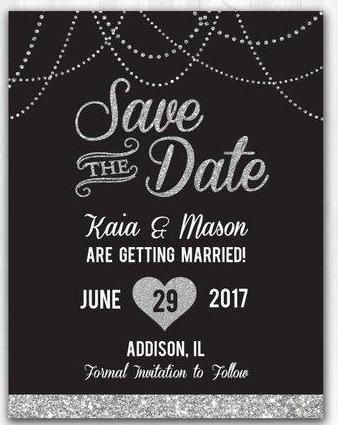 Silver Glitter Save The Date Magnet Glitter Wedding Save The Date