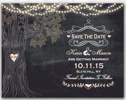 Tree Save The Date String Lights Save The Date Chalkboard