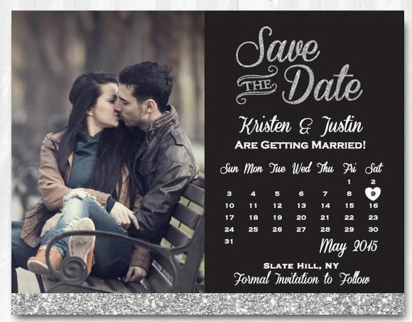 Silver Glitter Save The Date Magnet Silver Save The Date