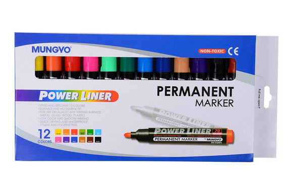 Mungyo Power Liner Permanent Marker (12 Assorted Colors)