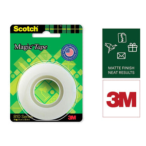 Scotch Magic Tape - The Original Matte-Finish Invisible Tape by 3M ( Width 1.9cm Length 25.4m)