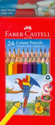 Faber-Castell 24 Grip Colour Pencils, Cardboard wallet of 24 (118024)