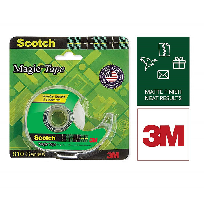 Scotch Magic Tape - The Original Matte-Finish Invisible Tape by 3M (With dispenser)