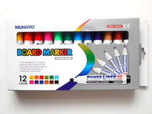 Mungyo Power Liner Board Marker (12 Assorted Colors)