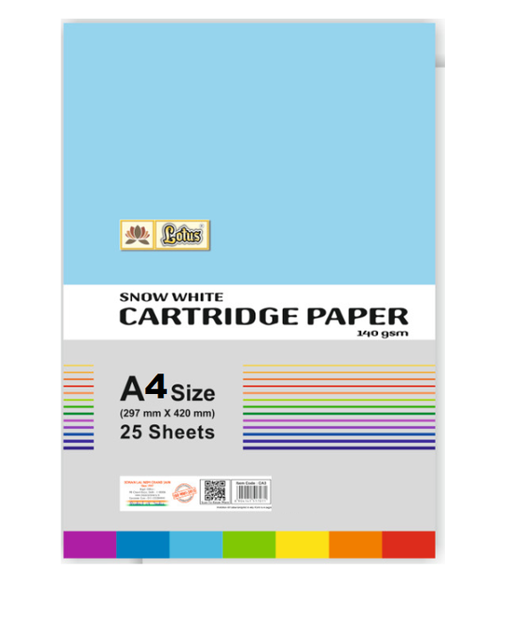 Lotus Snow white Cartridge Paper (140 gsm) 25 Sheets