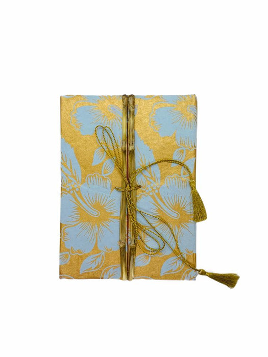 JAIPUR HAND MADE NOTEBOOK ( BAMBOO GOLDEN BLUE LEAF )