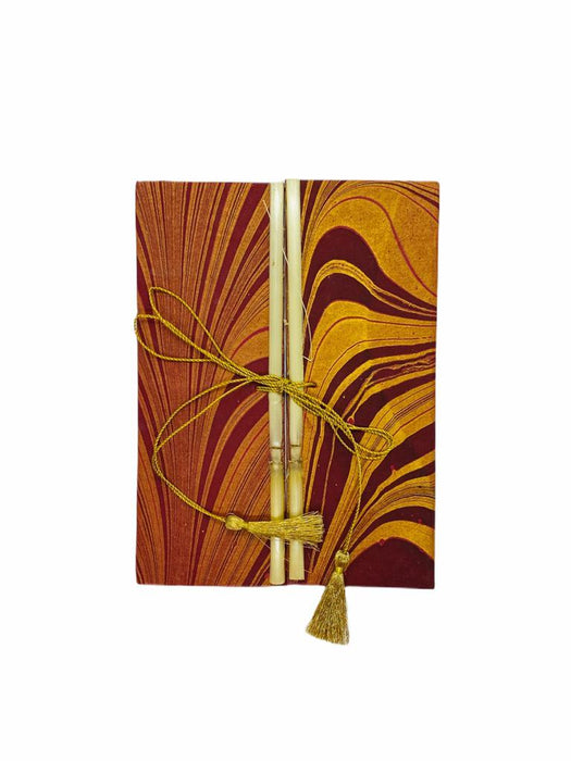 JAIPUR HAND MADE NOTE BOOK ( BAMBOO GOLDEN RED MARBLE )