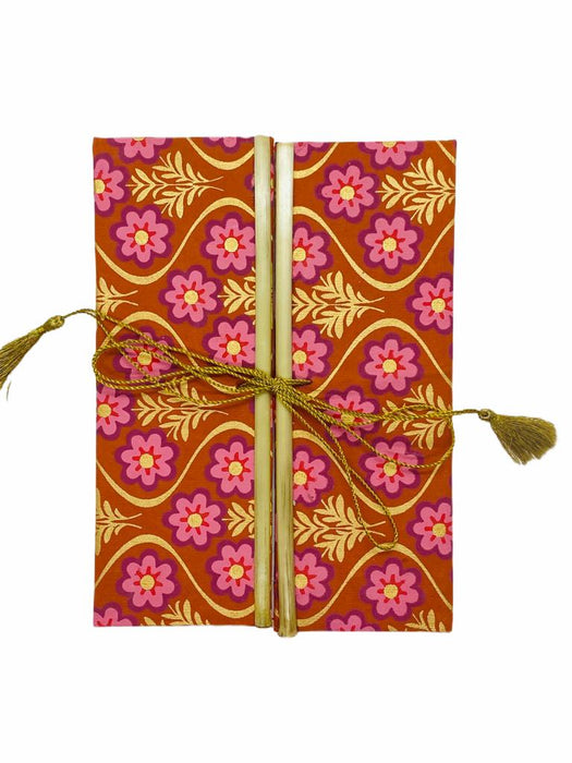 JAIPUR HAND MADE NOTE BOOK ( BAMBOO PINK FLOWER ON RED )
