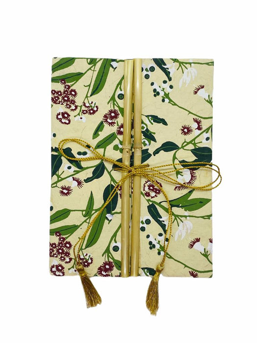 JAIPUR HAND MADE NOTE BOOK ( BAMBOO RED FLOWER GREEN LEAFS )